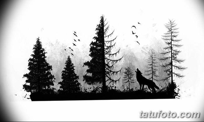 Фото эскизы тату леса и волка