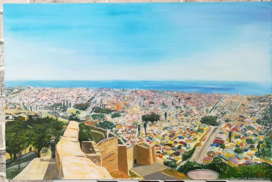Смотреть онлайн бесплатно красивый вид сверху города Дербент в хорошем качестве
