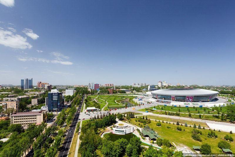 Смотреть красивый вид сверху города Донецк