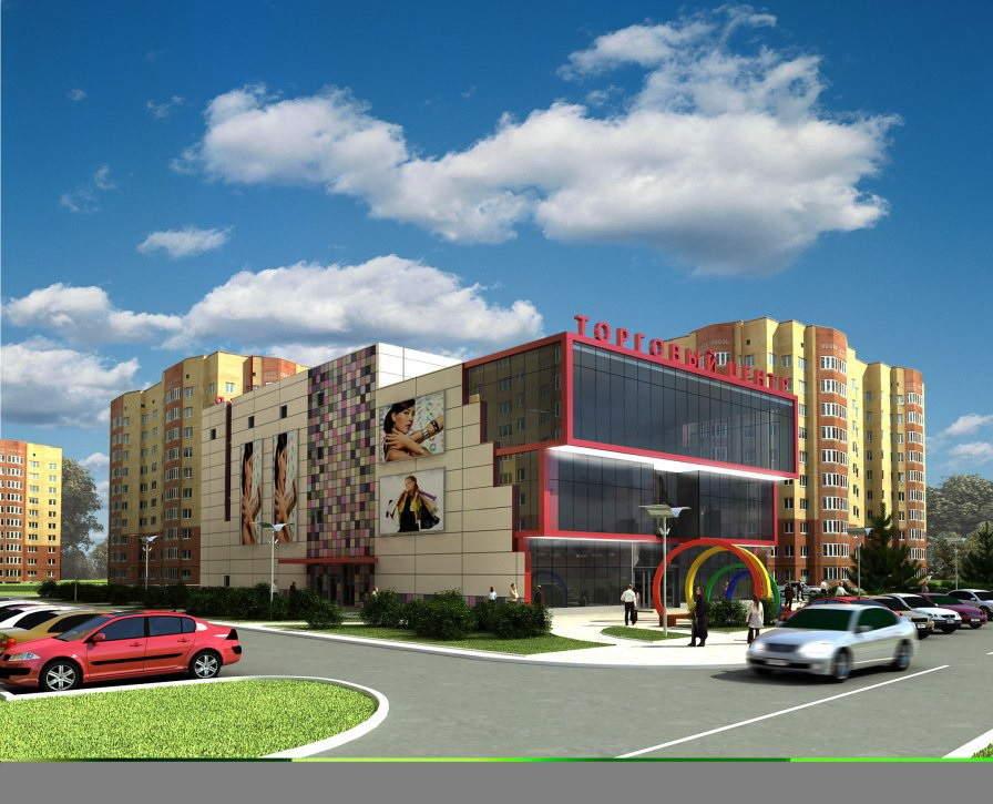 Смотреть красивое здание торгового центра Фавор в городе Егорьевск