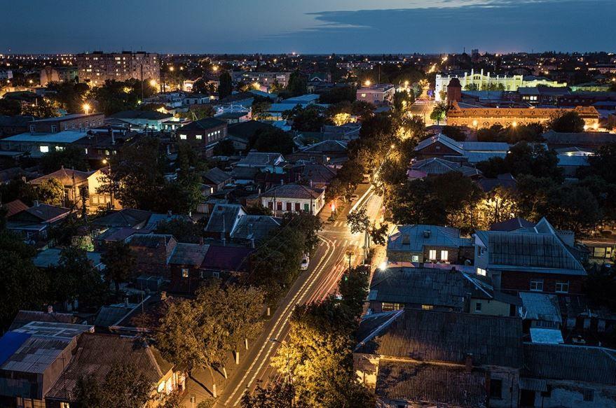 Смотреть красивый вид сверху в городе Ейск