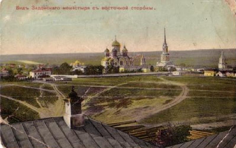 Вид на задонский монастырь с восточной стороны город Задонск