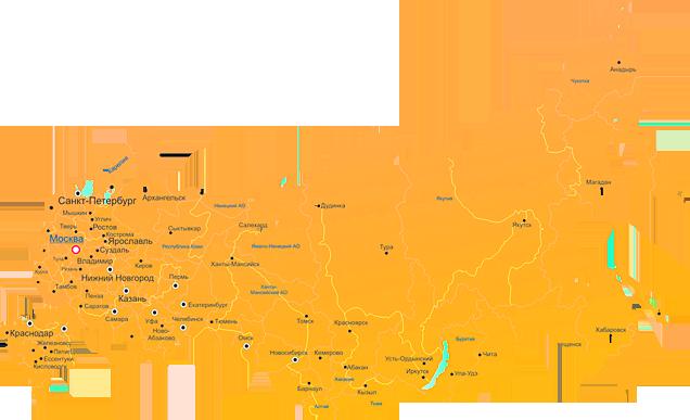 Карта с большими городами России