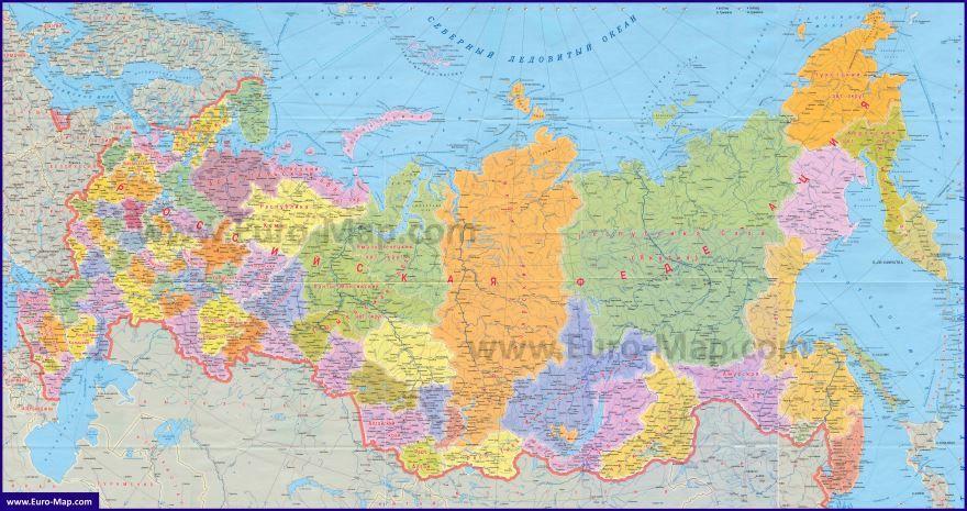 Подробная карта России с областями и городами