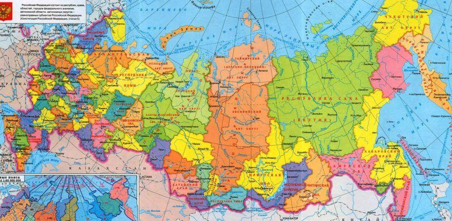 Подробная карта России с областями