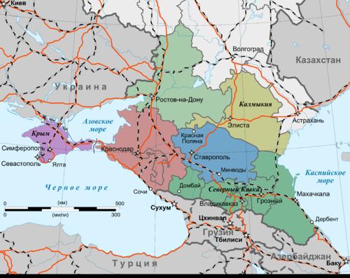 Южные города России на карте