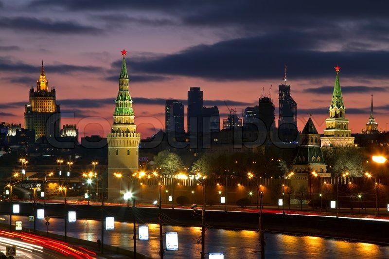 Смотреть красивое фото ночная Москва Россия