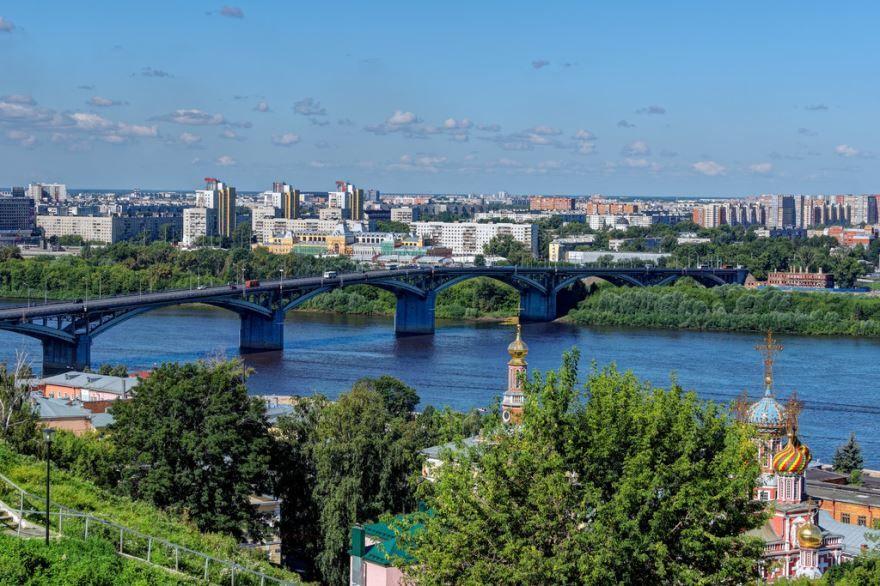 Смотреть красивое фото мост через реку в городе Нижний Новгород