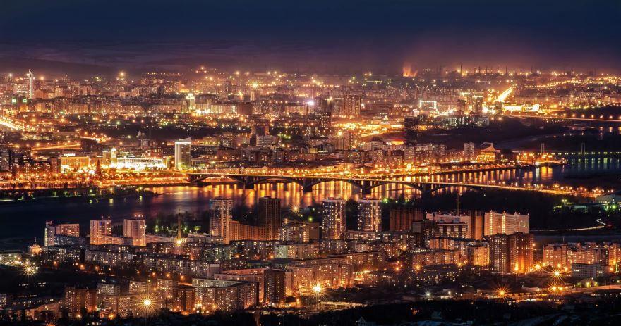 Смотреть красивое фото ночной город Красноярск в хорошем качестве