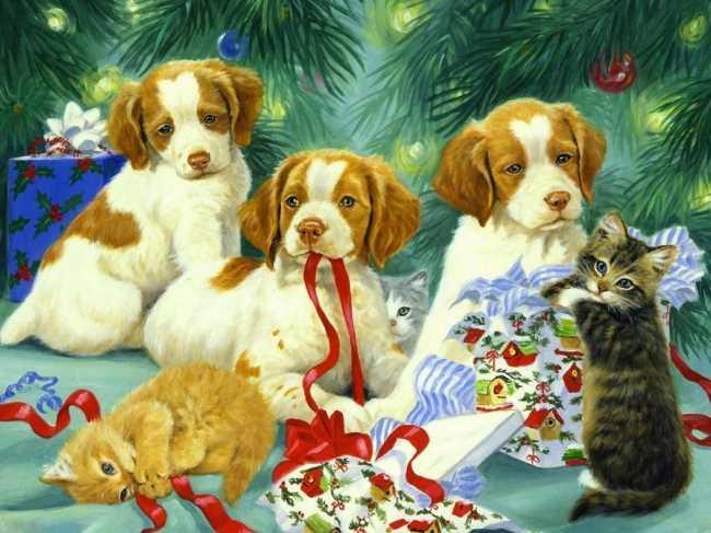 С Новым годом собаки картинка