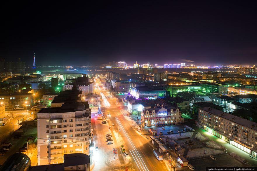 Смотреть красивое фото ночной город Благовещенск в хорошем качестве