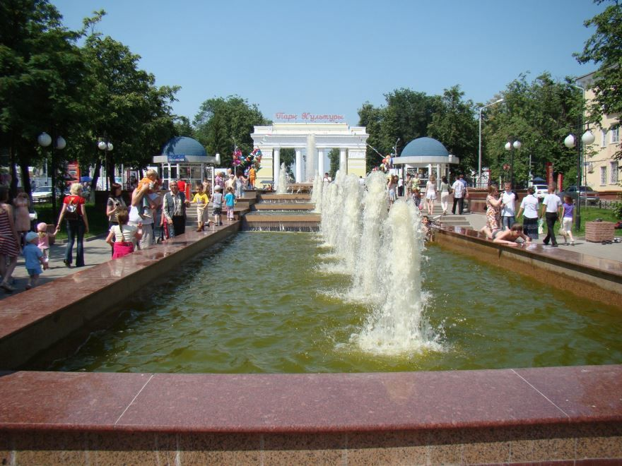 Фонтан у входа в парк культуры город Йошкар ола