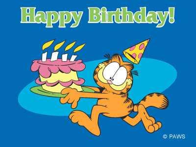 с днем рождения, приколы, торт, гарфилд