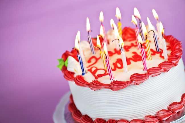 с днем рождения, торт со свечами