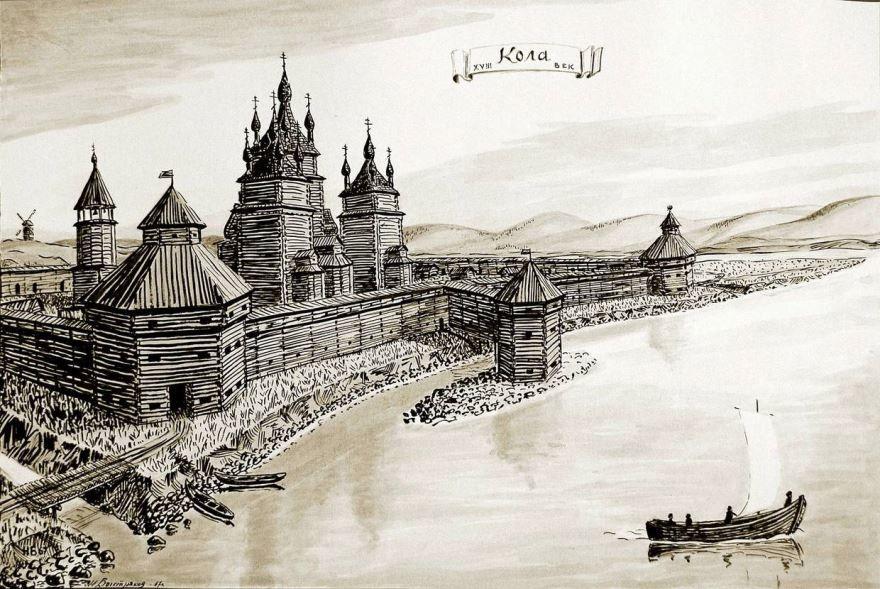 Смотреть красивое старинное фото Кольский Острог город Кола
