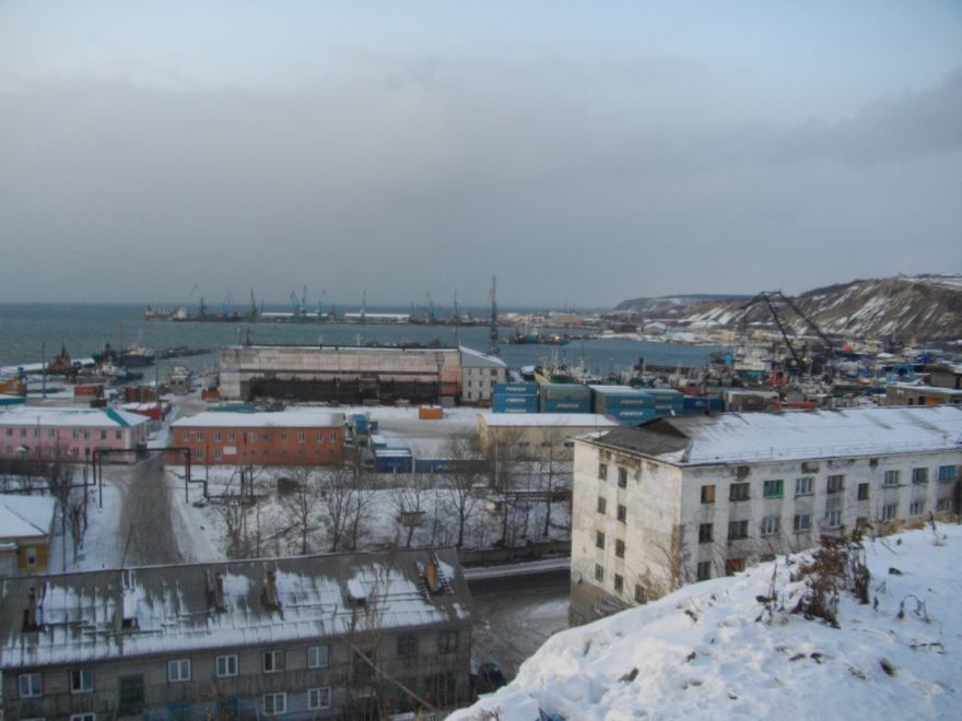 Смотреть красивое фото панорама города Корсаков в хорошем качестве
