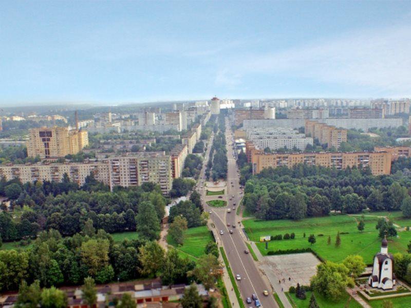 Смотреть красивый вид сверху город Королев