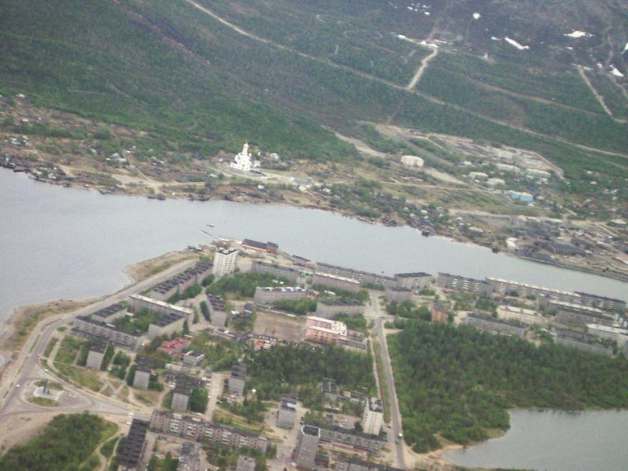 Смотреть фото города Мончегорск с высоты