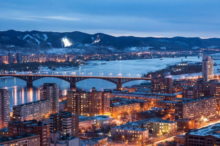 Скачать онлайн бесплатно лучшее ночное фото города Красноярска в хорошем качестве