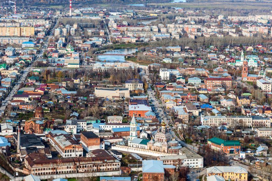 Смотреть лучшее фото вид сверху города Кунгур в хорошем качестве