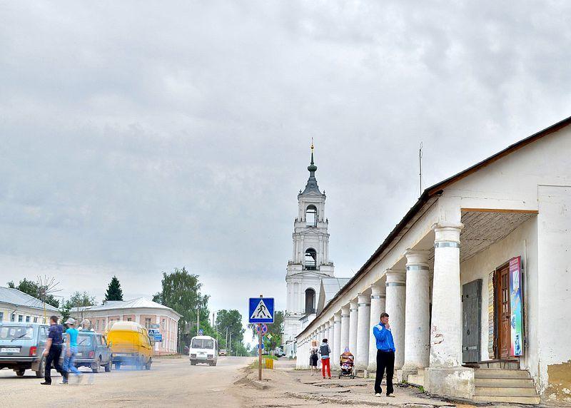 Гостиные ряды и колокольня Казанского собора город Нерехта