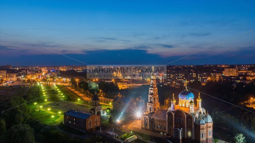 Смотреть красивое фото ночная панорама города Новочебоксарск в хорошем качестве