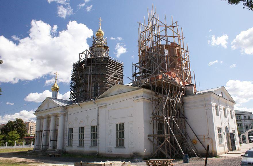 Строительство колокольни Богоявленного собора города Орел
