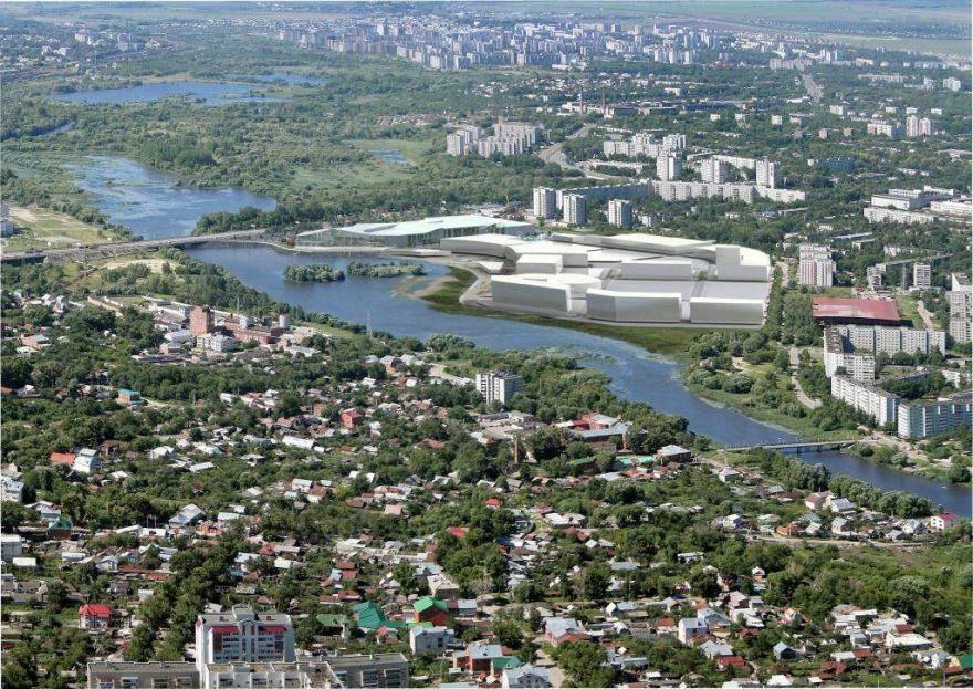 Смотреть красивое фото вид сверху река Волга и город Ульяновск