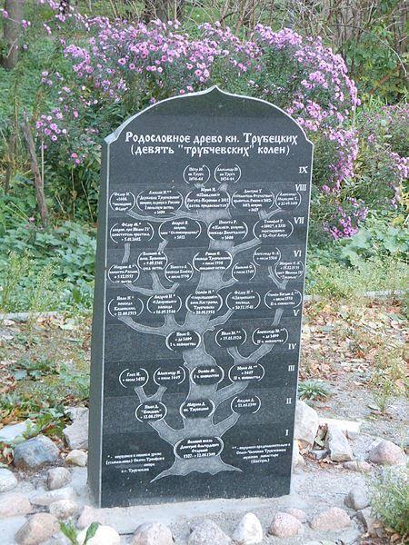 Генеологическое древо Князей Трубецких находится в парке Троицкого собора города Трубчевска