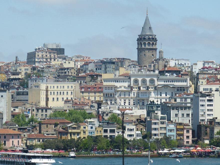 Галата башня и красивый вид города Стамбула