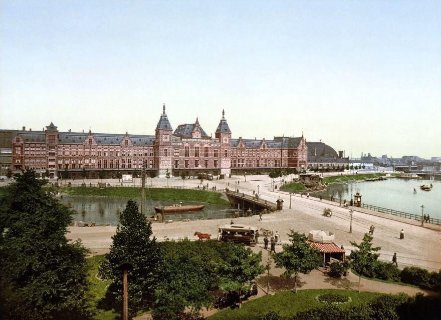 Смотреть красивый вид города Амстердам Нидерланды бесплатно