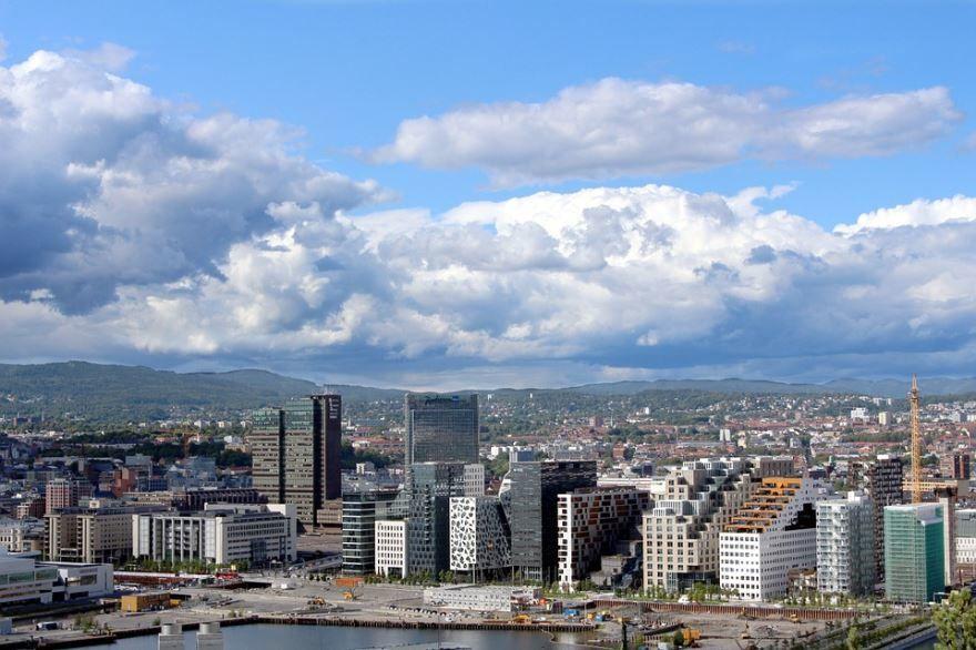 Смотреть красивое фото вид сверху город Осло Норвегия
