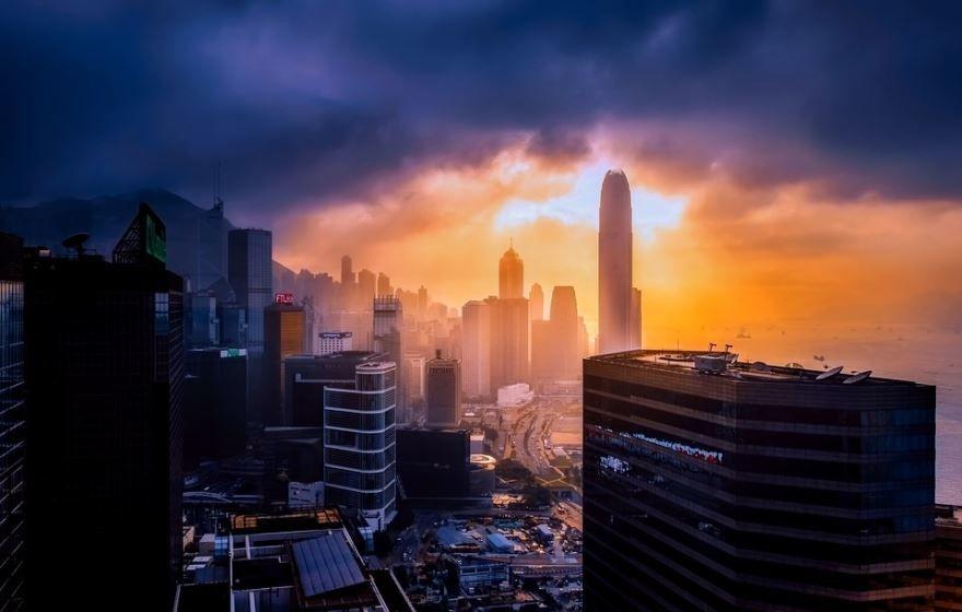 Вид сверху на город Гонконг 2019