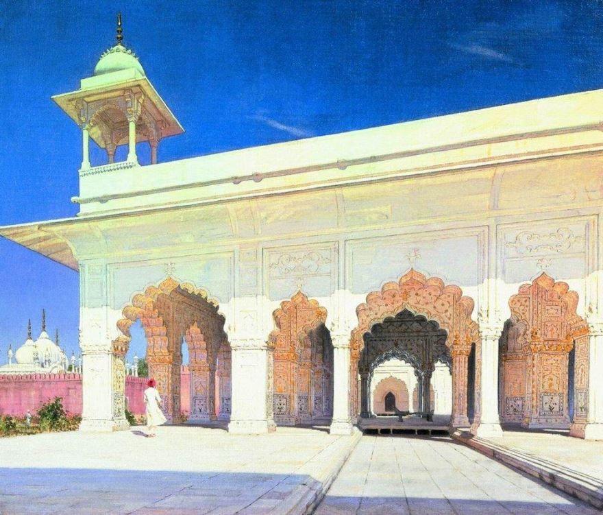 Тронный зал Великих моголов Шах Джахана и Ауранг-Зеба в форте Дели