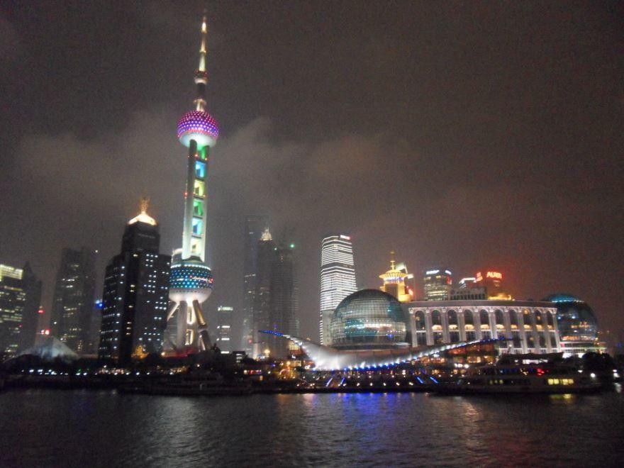 Смотреть ночное фото города Шанхай бесплатно