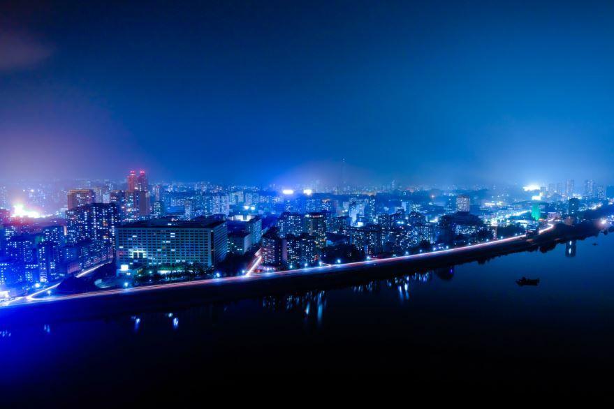 Вид на город Пхеньян 2019 ночью