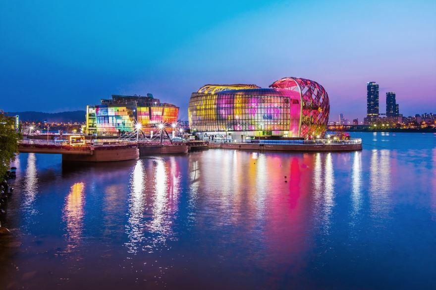 Смотреть красивое ночное фото города Сеул бесплатно