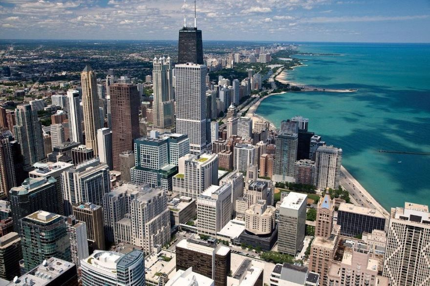 Город Чикаго фото вид сверху