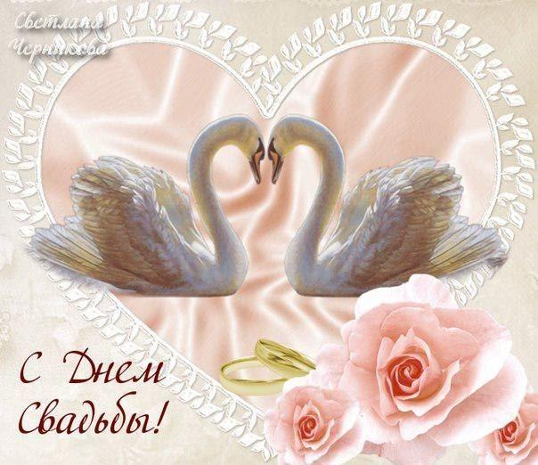 С днем свадьбы! Лебеди