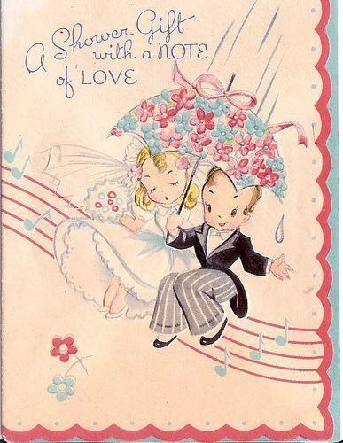 Красивая открытка - поздравление, с рисунком молодоженов