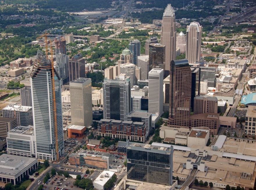 Вид сверху города Шарлотт Северная Каролина