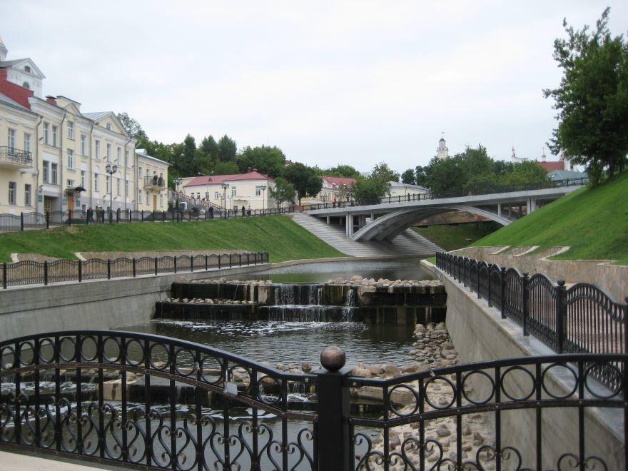 Река Витьба и вид на Пушкинский мост город Витебск