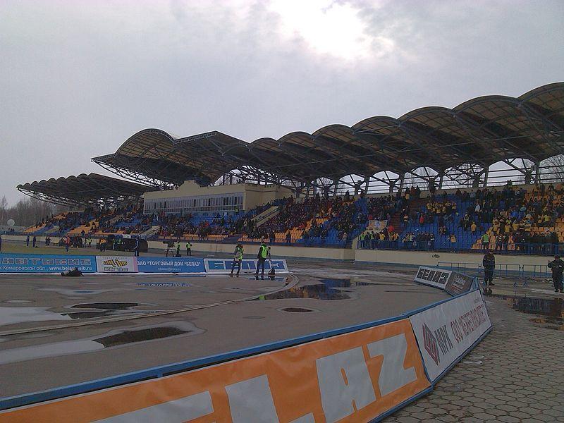 Западная трибуна стадиона Торпедо город Жодино Беларуссия