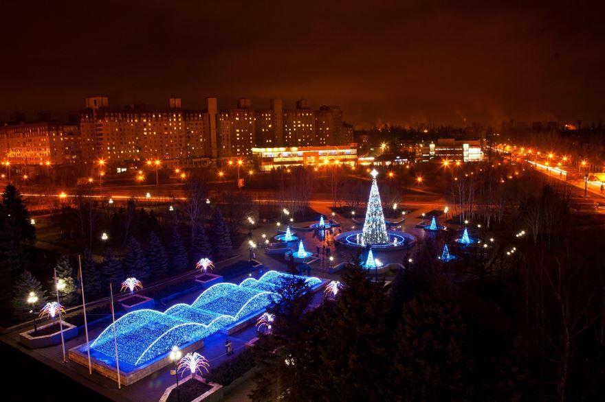 Ночное фото город Кривой Рог