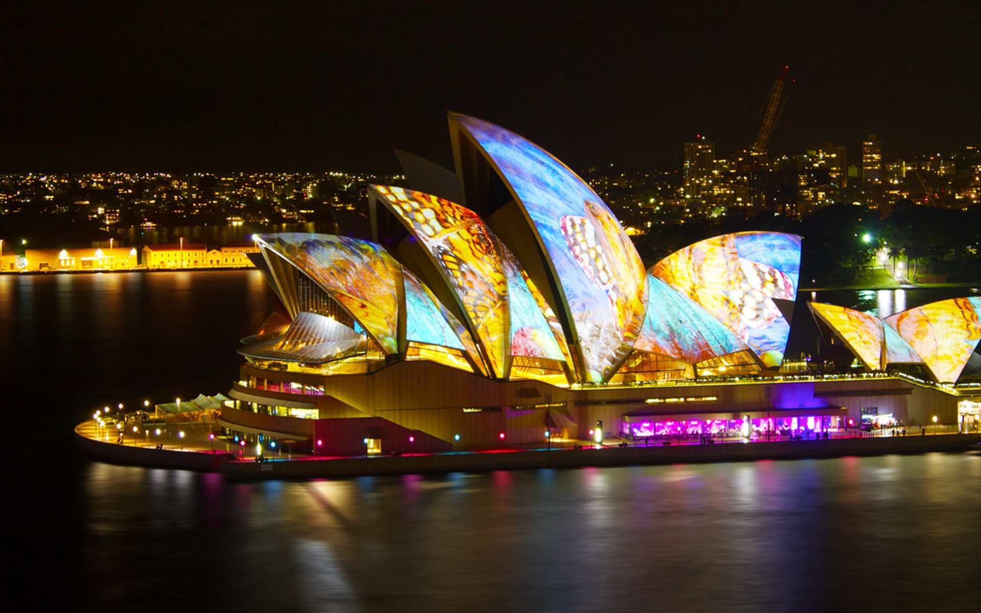 Ночное фото город Сидней