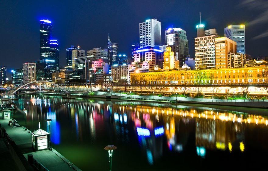 Лучшее ночное фото город Мельбурн