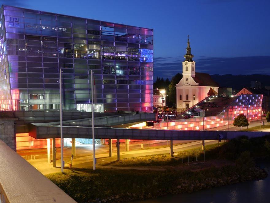 Ночное фото города Линц