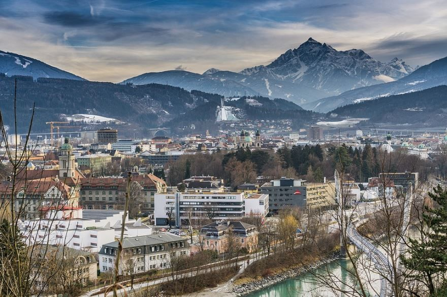 Красивый вид на город Инсбрук
