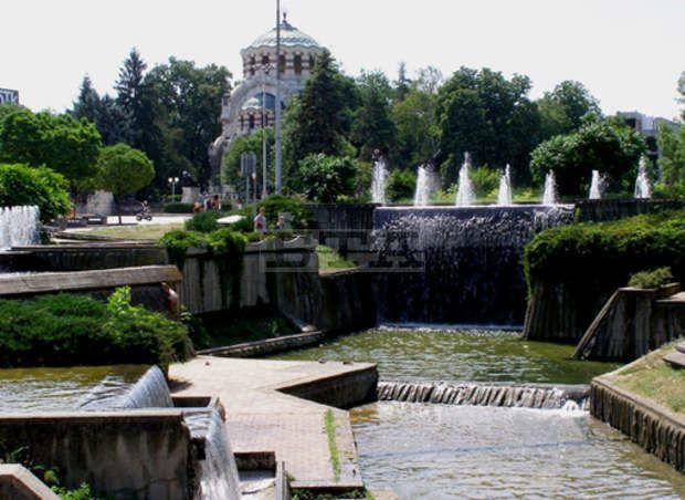 Каскад фонтанов город Плевен Болгария
