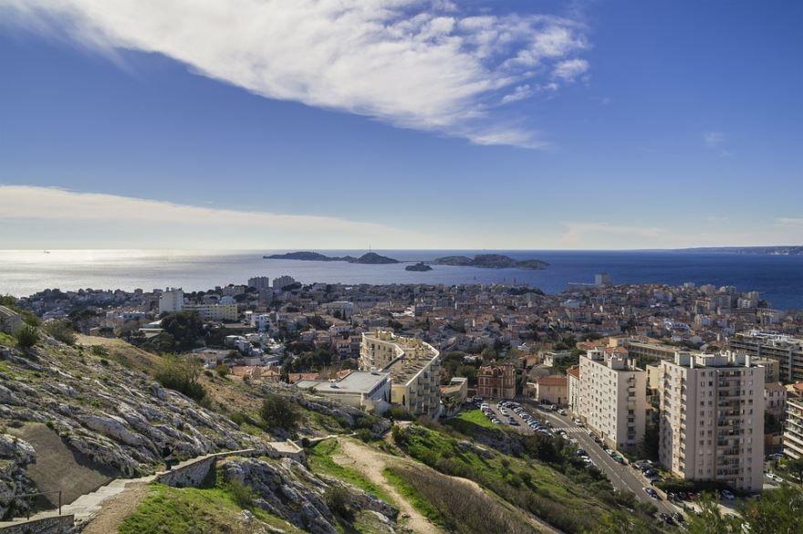 Вид на город Марсель Франция